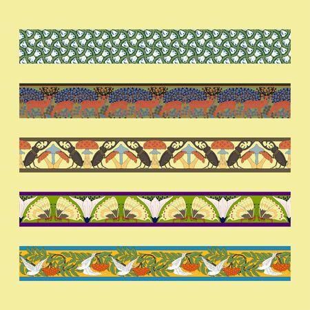 Vintage borders with zoomorphic ornament. Art Nouveau style. Vector.