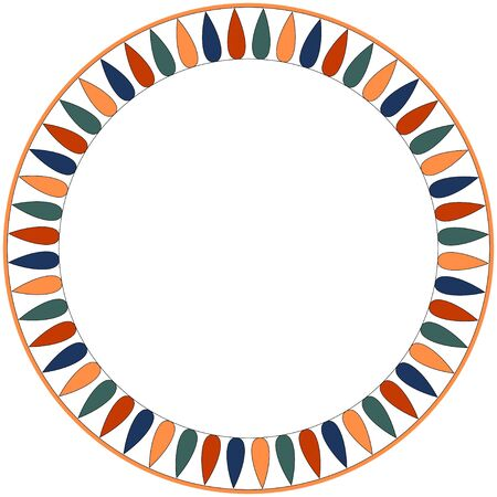 Egyptian traditional ornament. Round frame with geometric ornament. Ancient traditions. Vector.