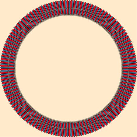 African traditional ornament. Round frame with floral ornament. Ancient traditions. Vector.