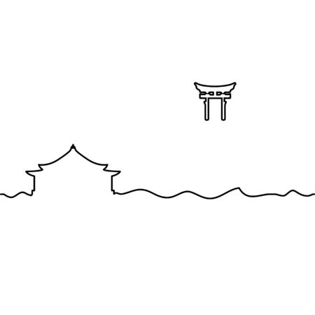 Shinto shrine and Torii Gate. One line drawing. Vector. Vectores