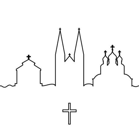 Christianity temple and cross. One line drawing. Vector.