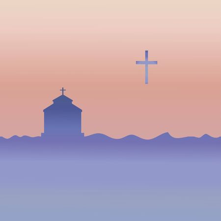 Protestant temple and cross. Vector.
