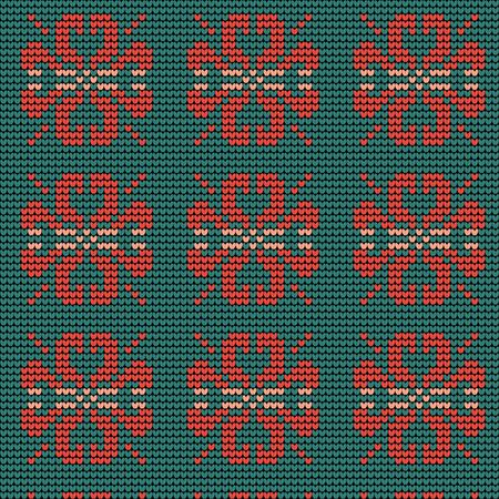 Norwegian traditional ornament. Seamless pattern with floral ornament. Knitting Pattern. Vector. Ilustração