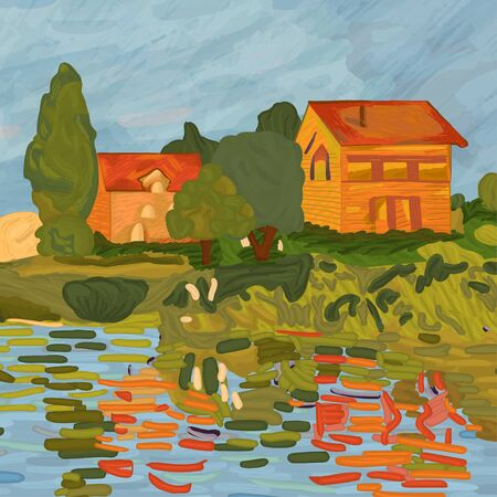 Houses in Claude Monet style. Digital element of the painting Regatta in Argenteuil by Claude Monet (1872). Impressionism style. Vector.