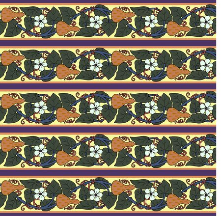 Vintage seamless pattern with lagenaria. Art Nouveau style. Vector.