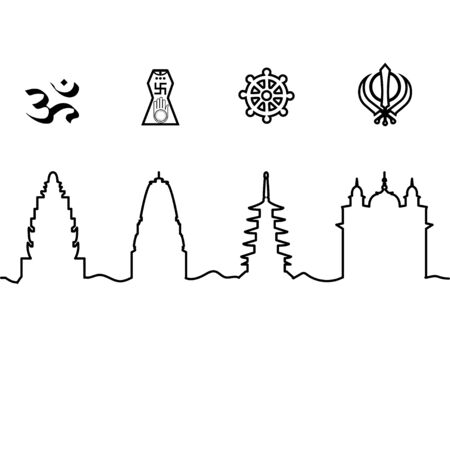 Indian temple and symbol. One line drawing. Vector.