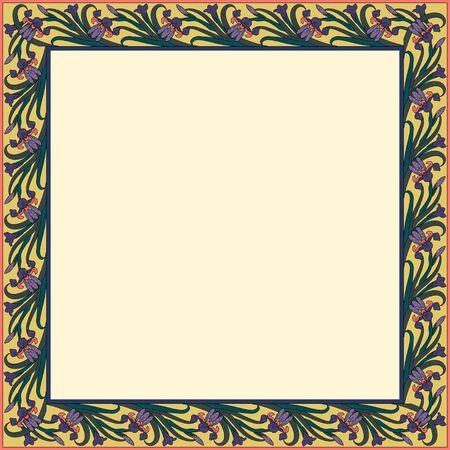 Vintage square frame with irises. Art Nouveau style. Vector.