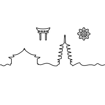 Japanese temple and symbol. One line drawing. Vector. Ilustrace