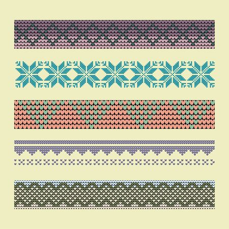 Norwegian traditional ornament. Borders with geometric ornament. Knitting Pattern. Vector.  Illustration