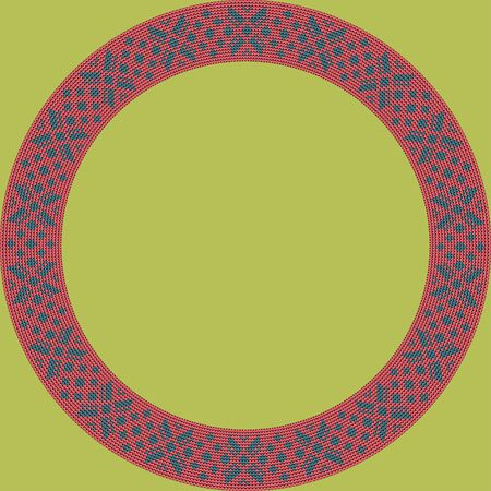 Norwegian traditional ornament. Round frame with floral ornament. Knitting Pattern. Vector.