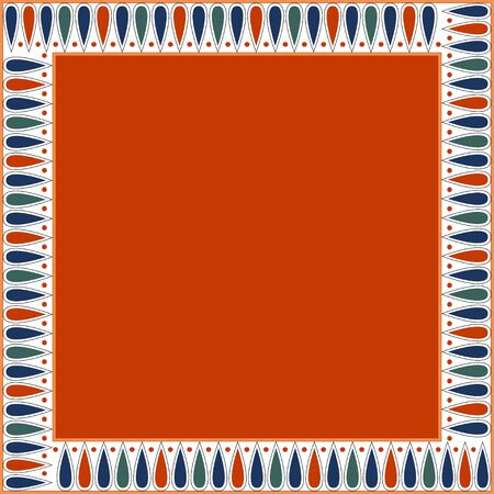 Egyptian traditional ornament. Square frame with geometric ornament. Ancient traditions. Vector.  Ilustrace