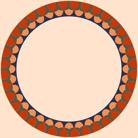 Egyptian traditional ornament. Round frame with floral ornament. Ancient traditions. Vector.