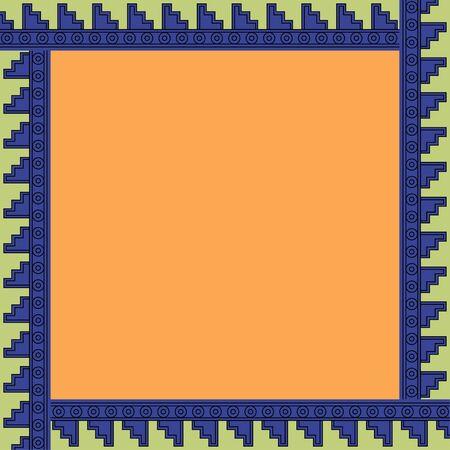 Ornement traditionnel mexicain. Cadre carré avec ornement géométrique. Traditions anciennes. Vecteur. Vecteurs
