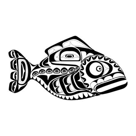 Haida perch tattoo. Ornament in haida style. Isolated fish on white background. Black monochrome. Vector. Vector Illustration