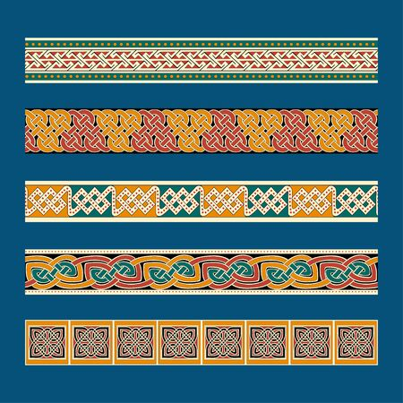 Celtic traditional ornament. Borders with geometric ornament. Ancient traditions. Vector.