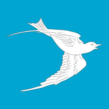 Flying white dove. Isolated bird on blue background.  Vector. 向量圖像