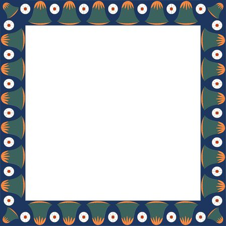 Egyptian traditional ornament. Square frame with floral ornament. Ancient traditions. Vector.