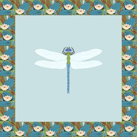 Dragonfly color illustration in vintage square frame. Art Nouveau style. Vector. 向量圖像