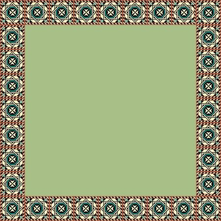 Medieval ornament. Square frame with geometric ornament. Ancient traditions. Vector. 向量圖像