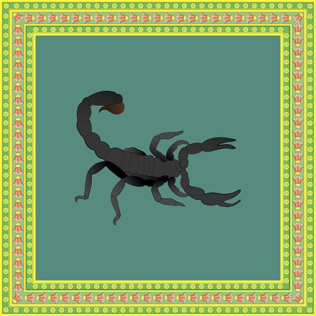 Scorpion color illustration in egyptian ornament frame. Vector. 向量圖像