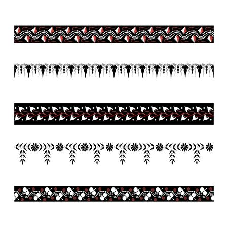 Borders with greek floral ornament. Ancient Greek ornament style. Vector.