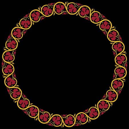 Medieval ornament. Round frame with floral ornament. Ancient traditions. Vector. 向量圖像