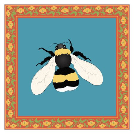 Bumblebee color illustration in vintage square frame. Art Nouveau style. Vector. 向量圖像