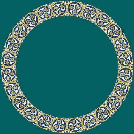 Japanese traditional ornament. Round frame with zoomorphic ornament. Ancient traditions. Vector. 일러스트