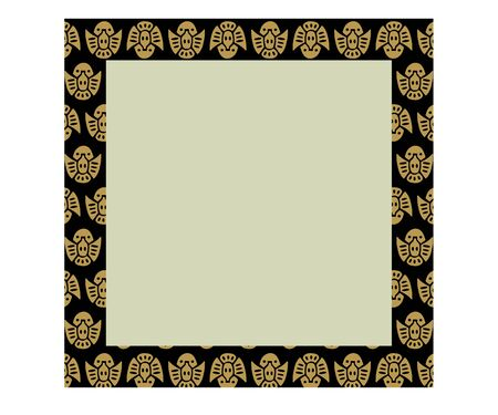 Japanese traditional ornament. Square frame with zoomorphic ornament. Ancient traditions. Vector. 일러스트
