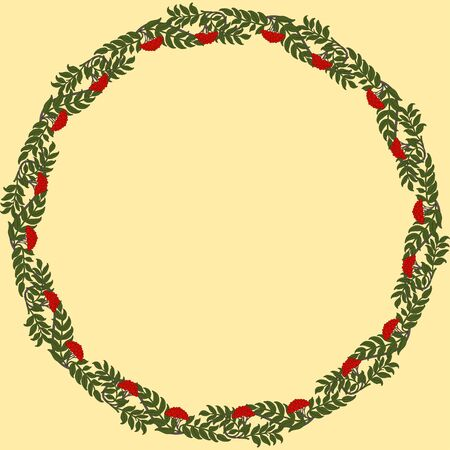 Vintage round frame with rowanberry. Art Nouveau style. Vector.