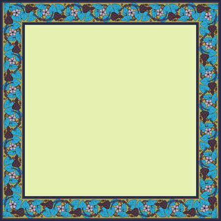 Vintage square frame with lagenaria. Art Nouveau style. Vector.