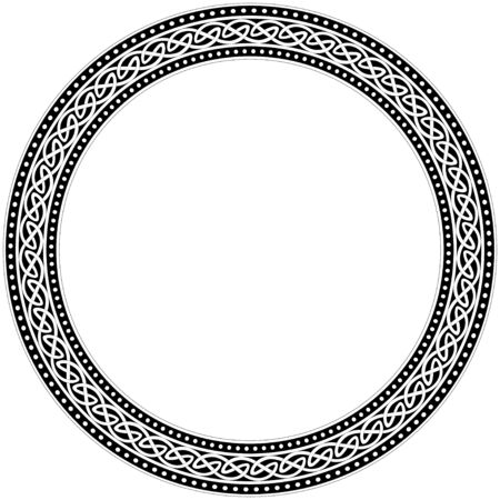 Celtic traditional ornament. Round frame with geometric ornament. Ancient traditions. Vector.