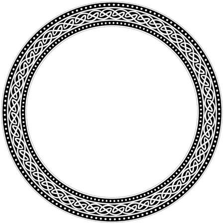 Ornement traditionnel celtique. Cadre rond avec ornement géométrique. Traditions anciennes. Vecteur.
