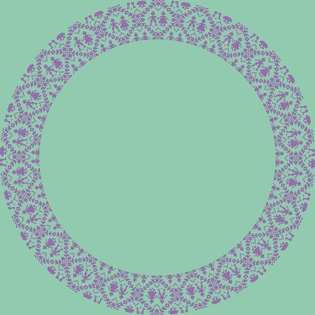 Norwegian traditional ornament. Round frame with anthropomorphic ornament. Knitting Pattern. Vector. Ilustração