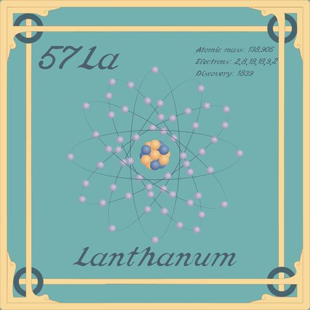 Periodic table element. Lanthanum colorful icon. Vector.