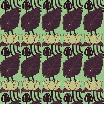 Vintage seamless pattern with lotuses. Art Nouveau style. Vector.