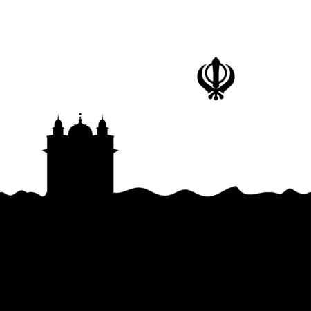 Sikhism temple and symbol. Vector.