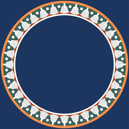 Egyptian traditional ornament. Round frame with floral ornament. Ancient traditions. Vector.  일러스트