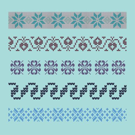 Norwegian traditional ornament. Borders with floral ornament. Knitting Pattern. Vector.