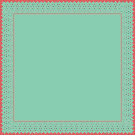 Norwegian traditional ornament. Square frame with geometric ornament. Knitting Pattern. Vector.  Illustration