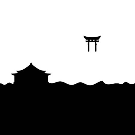 Shinto shrine and Torii Gate. Vector. Иллюстрация