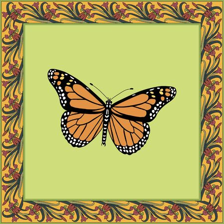 Danaus plexippus color illustration in vintage square frame. Art Nouveau style. Vector. Banque d'images - 140908652
