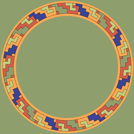 Mexican traditional ornament. Round frame with geometric ornament. Ancient traditions. Vector.