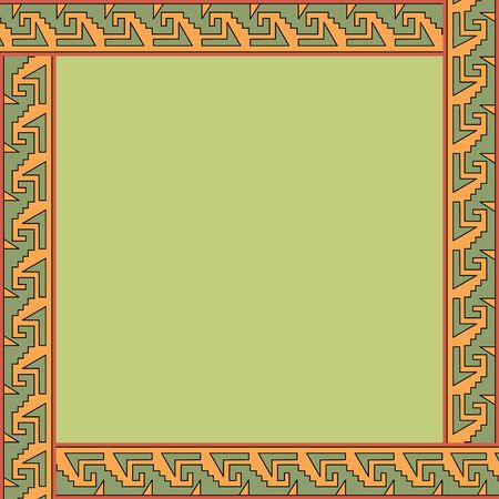 Mexican traditional ornament. Square frame with geometric ornament. Ancient traditions. Vector.