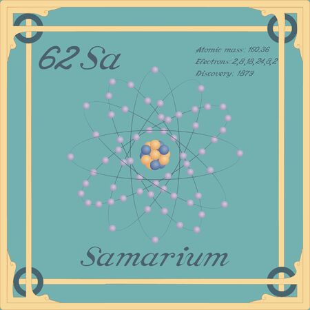 Periodic table element. Samarium colorful icon. Vector.
