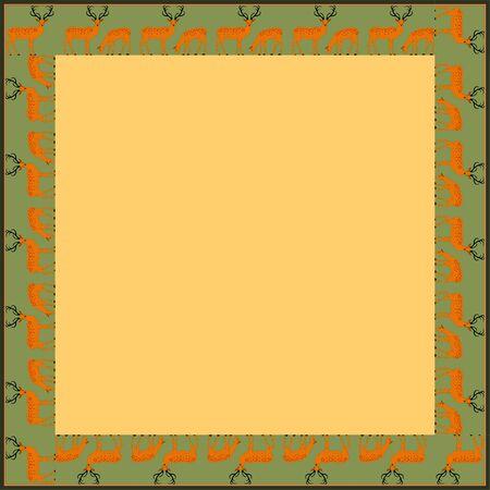 Vintage square frame with deer. Zoomorphic ornament. Art Nouveau style. Vector.