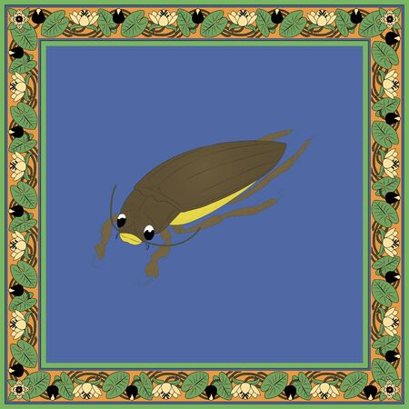 Beetle plunger color illustration in vintage square frame. Art Nouveau style. Vector.