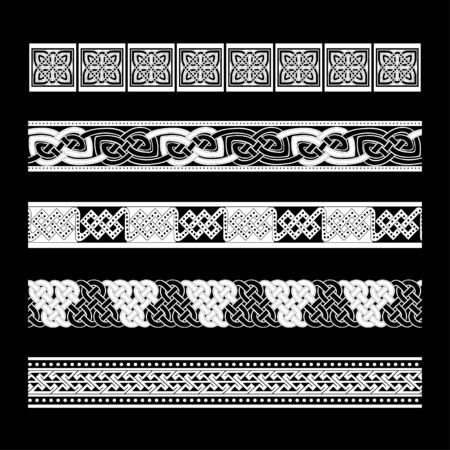 Celtic traditional ornament. Borders with geometric ornament. Ancient traditions. Vector. Banque d'images - 140908669