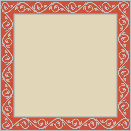 Medieval ornament. Square frame with floral ornament. Ancient traditions. Vector. Banque d'images - 140908691