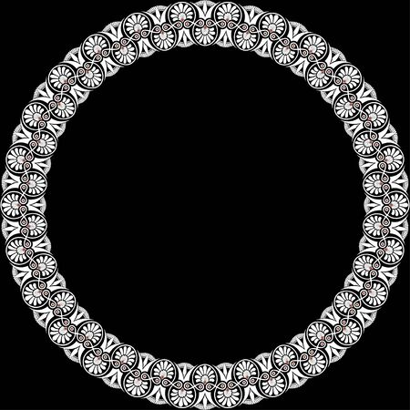 Round frame with greek palmetta ornament. Ancient Greek ornament style. Vector.